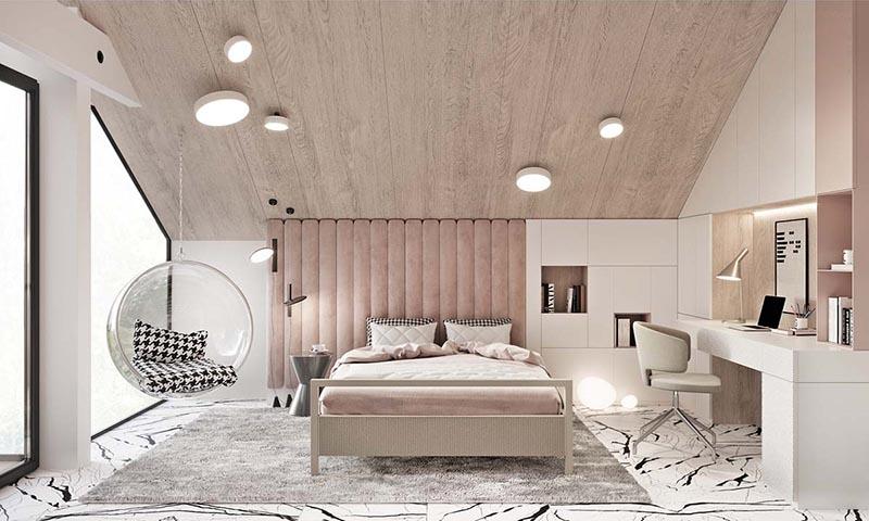 Màu hồng trong thiết kế giường ngủ cực lỳ hút mắt