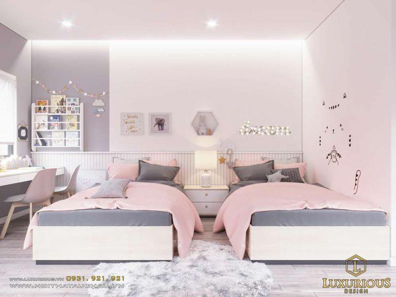 Phòng ngủ cho nữ màu hồng cực nữ tính