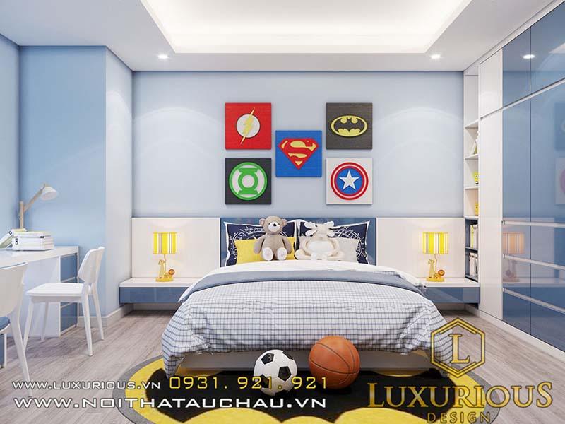 Phòng ngủ nữ màu xanh cho bé trai